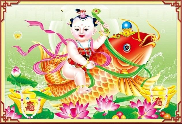 Tranh em bé cưỡi cá chép cũng sẽ mang lại nhiều điều may mắn cho bà bầu