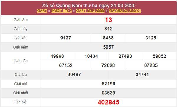 Thống kê XSQNM 31/3/2020 - XS Quảng Nam hôm nay