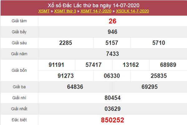 Thống kê XSDLK 21/7/2020 chốt KQXS ĐăkLắc thứ 3